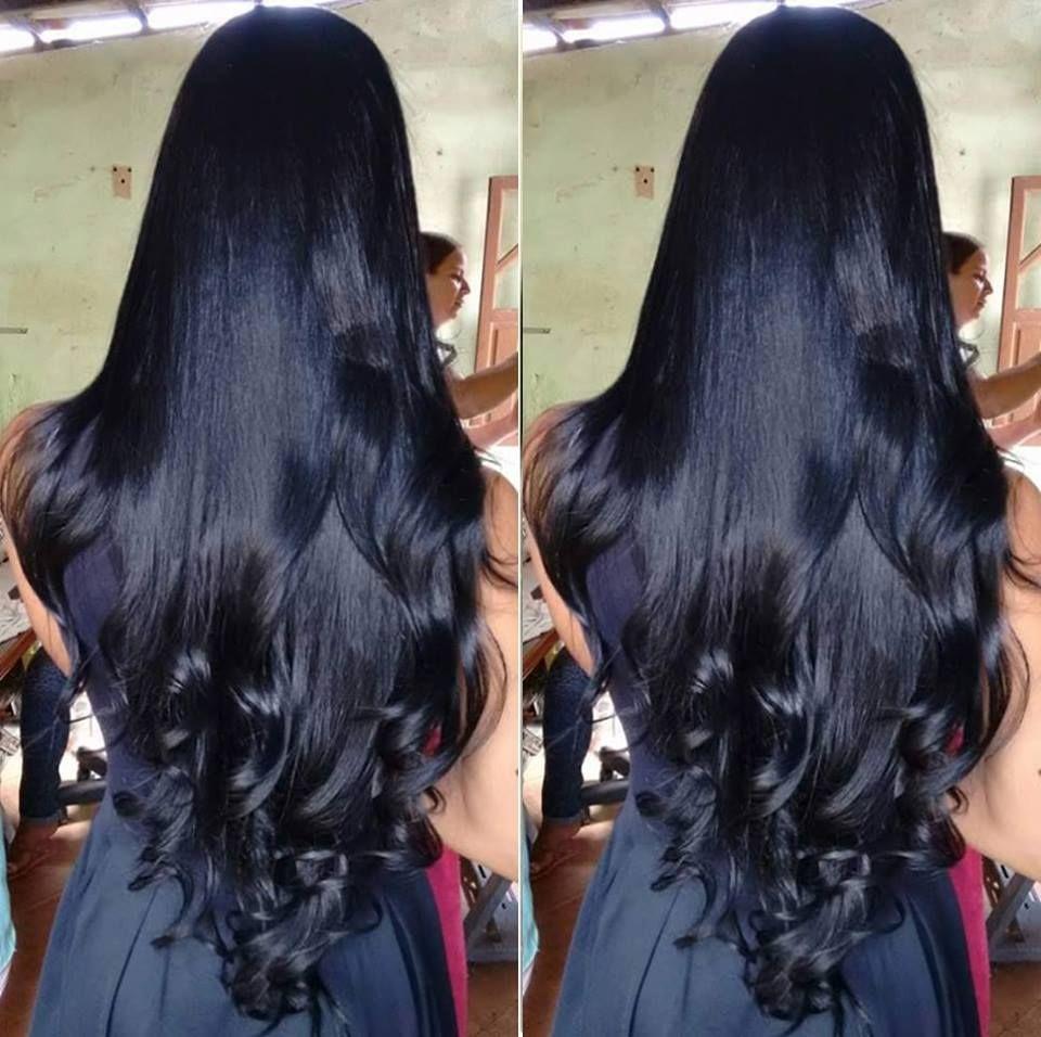 Jet Black Styled Hair Ide Warna Rambut Rambut Panjang Warna Rambut