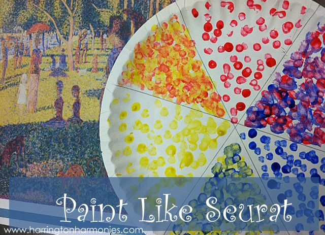 How to paint like seurat for kids pointillism art for Seurat coloring pages