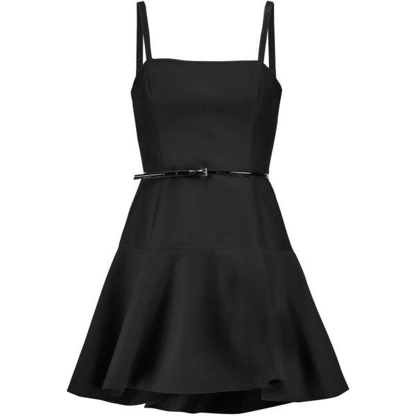 Femme Patrimoine Halston Coton Cannelée Ceinturé Et Soie Mélange Mini-robe Noire Taille 14 Patrimoine Halston n4OK72cK
