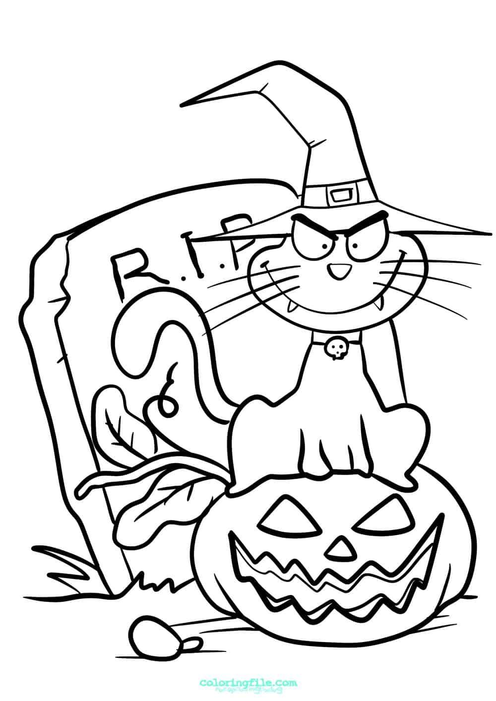 Pumpkin Halloween Cat Coloring Pages #1906 Halloween Cat Coloring ... | 1415x1000