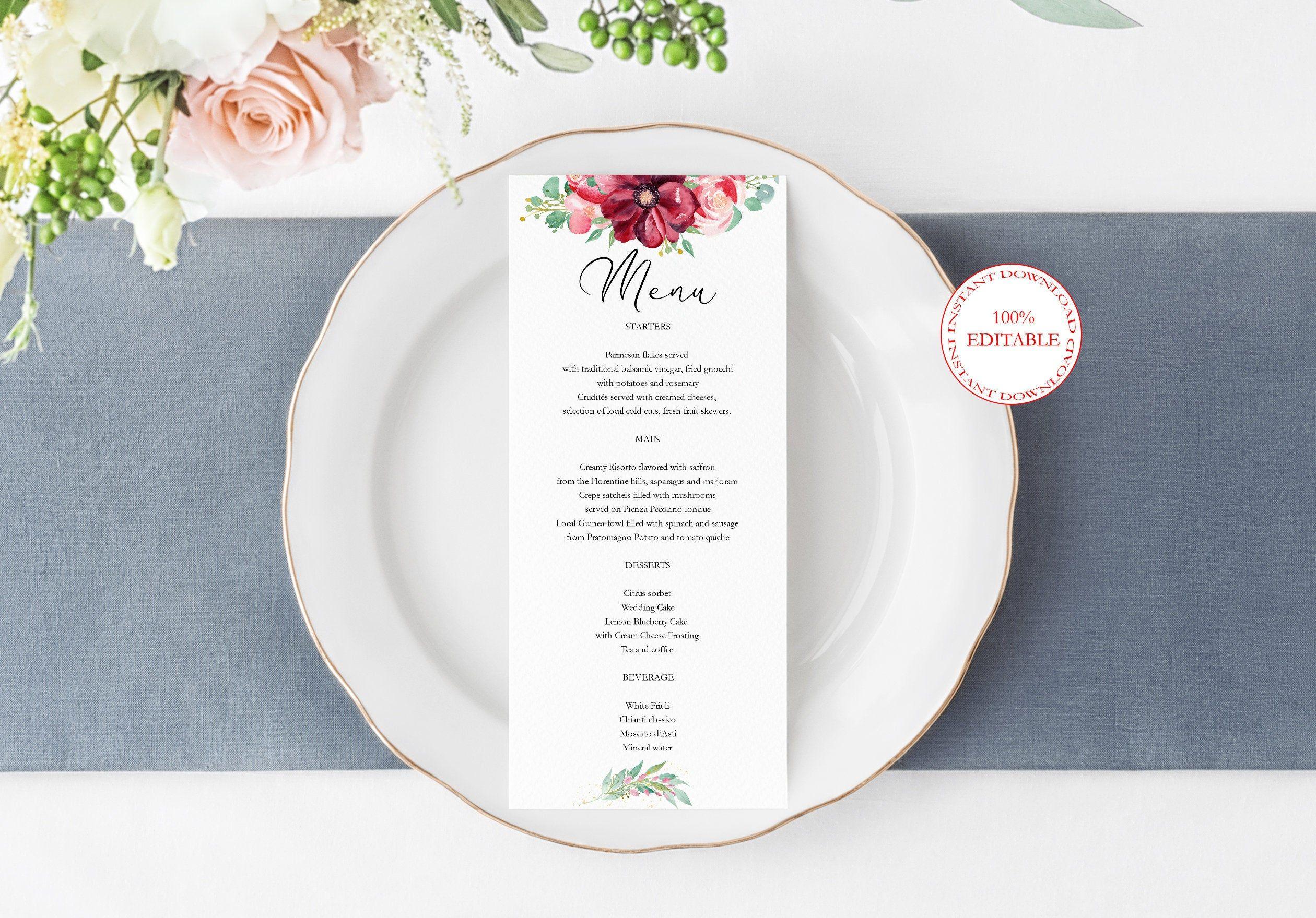 Boho Burgundy Menu Card Template Floral Wedding Custom Menu Etsy Menu Card Template Menu Cards Wedding Menu Cards