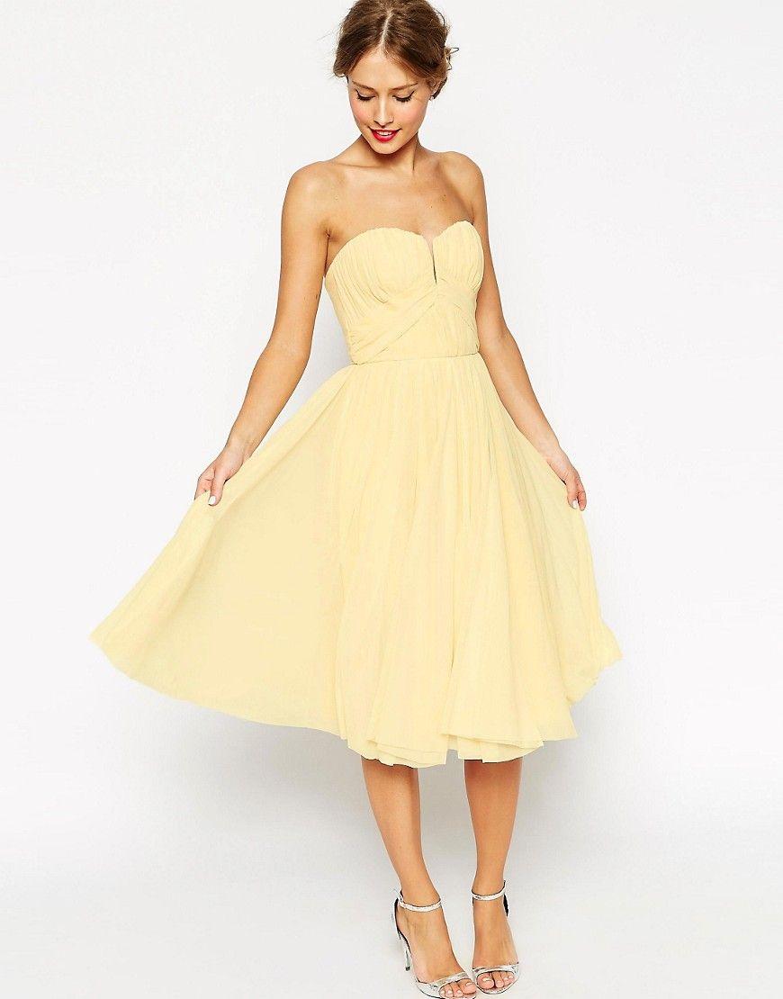 f01c0ba9ad7d Immagine 1 di ASOS WEDDING - Vestito longuette a fascia con corpetto  arricciato