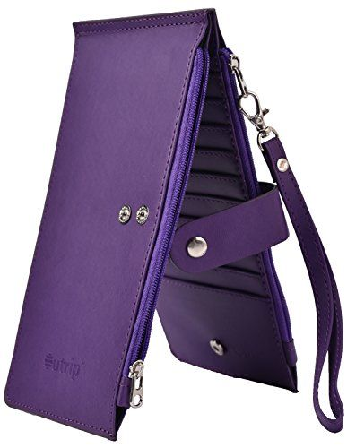 fba4bb75e93e Yeeasy RFID Blocking Women's Leather Bifold Wallet Thin Zipper Card ...