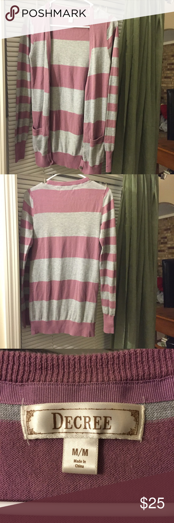 Purple and gray sweater This sweater is cozy warm and cute just in time for fall. Will go amazing with blue jeans and a white tank top any any boots. Decree Sweaters