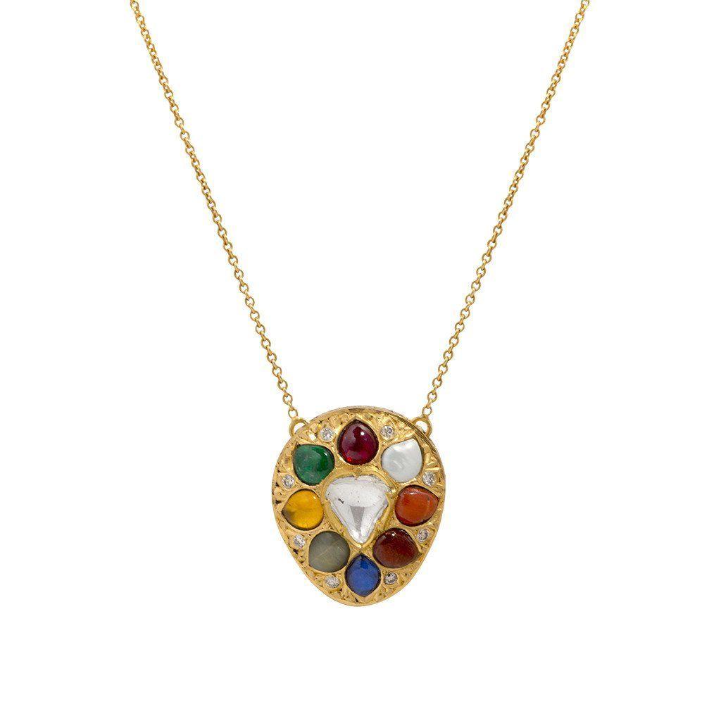 Navratna diamond pendant necklace indiandiamondnecklaces