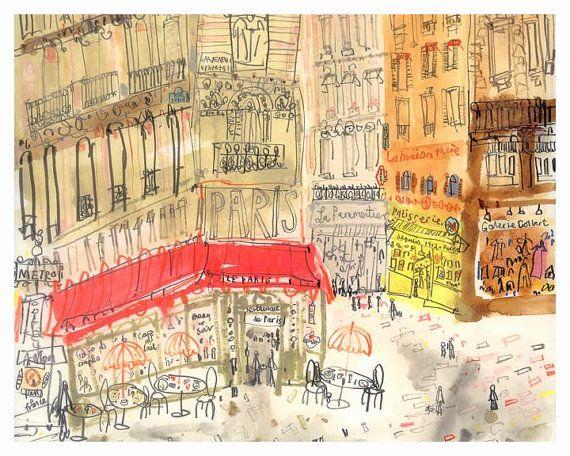 Impression De Cafe De Paris Illustration Francais Cafe Wall Art