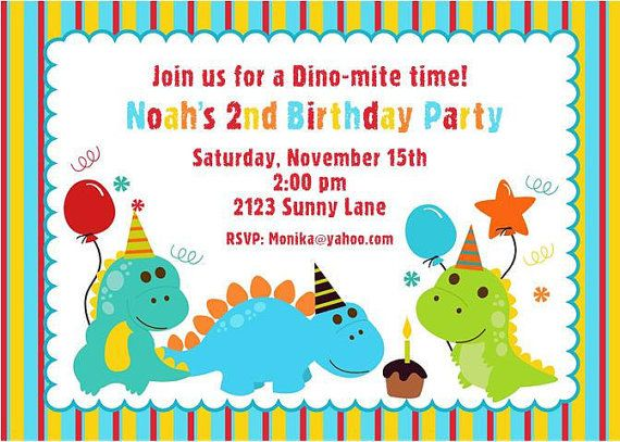 dinosaur birthday party invitations card | dino | pinterest, Birthday invitations