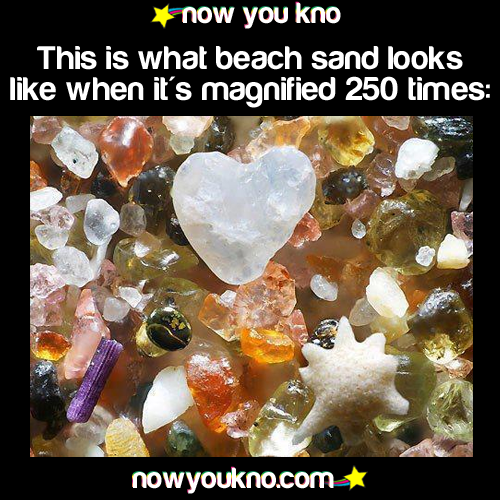 This is what beach sand looks like when it's magnified 250 times