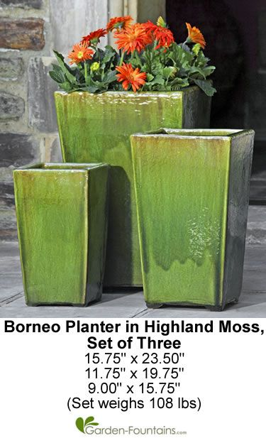 Borneo Planter Set Of Three In Highland Moss Outdoor Ceramic Tall Square Garden Container