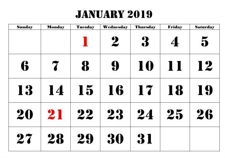 January 2019 Calendar Printable January 2019 Calendar Printable2019 ...