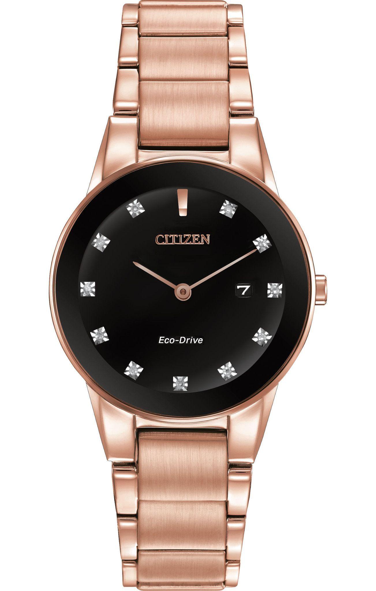 Citizen Eco Drive Women S Axiom Diamond Pink Gold Tone Watch Diamond Watches Women Stainless Steel Bracelet Citizen Watches Women