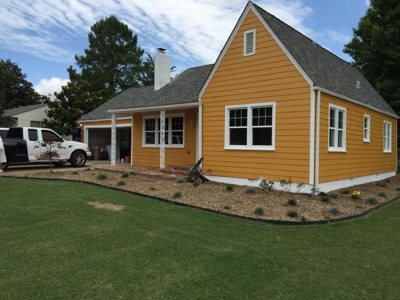 Mustard Yellow Exterior Exterior Farmhouse With Mustard Yellow Home House Exterior Roof Shingles White Window Trim