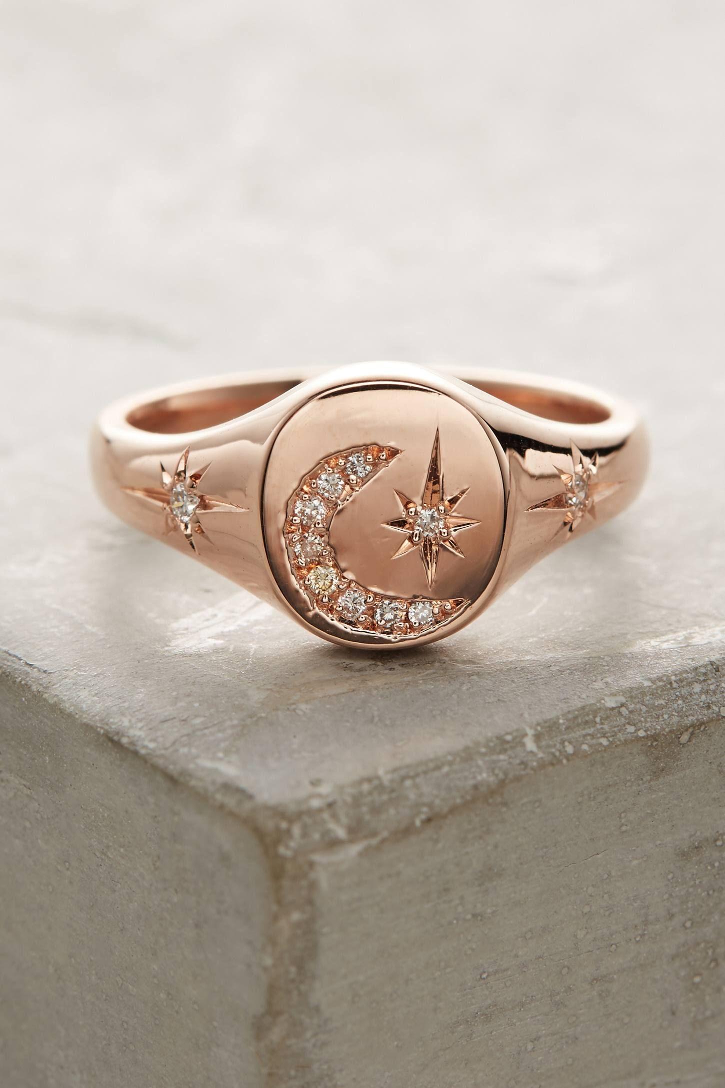 Slide View: 2: Moon & Stars Diamond Signet Ring