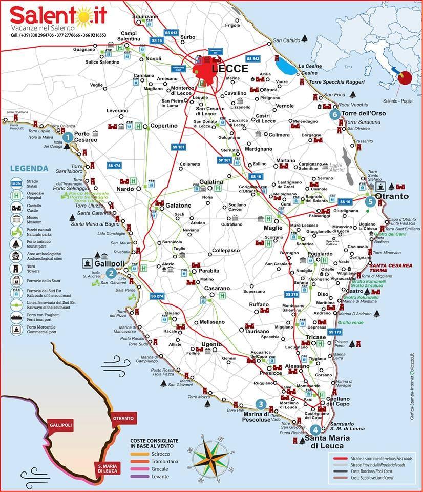 Cartina Mappa Spiagge Puglia.Informazioni Turistiche Per Trascorrere Le Vacanze Nel Salento Puglia Italia Vacanze Salento