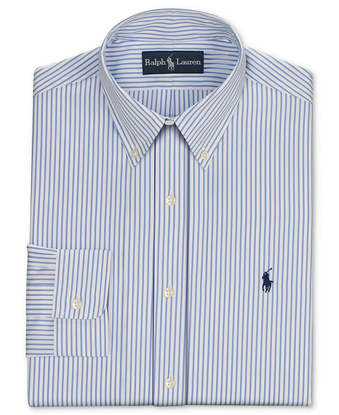 Polo Ralph Lauren Dress Shirt, Fitted Blue and White Stripe Long