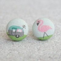 Livin' The Life - Trailor & Lawn Flamingo Handmade Fabric Covered Button Earrings