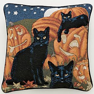 Black Cats & Pumpkins Pillow from Through the Country Door® | NW43862