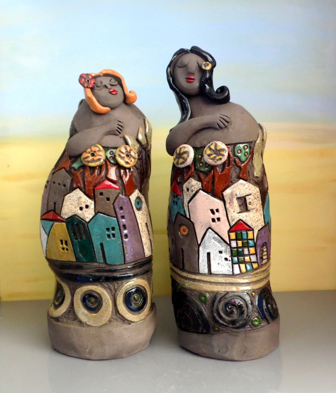 Aus Was Besteht Keramik ceramic sculpture set of two ceramic figures