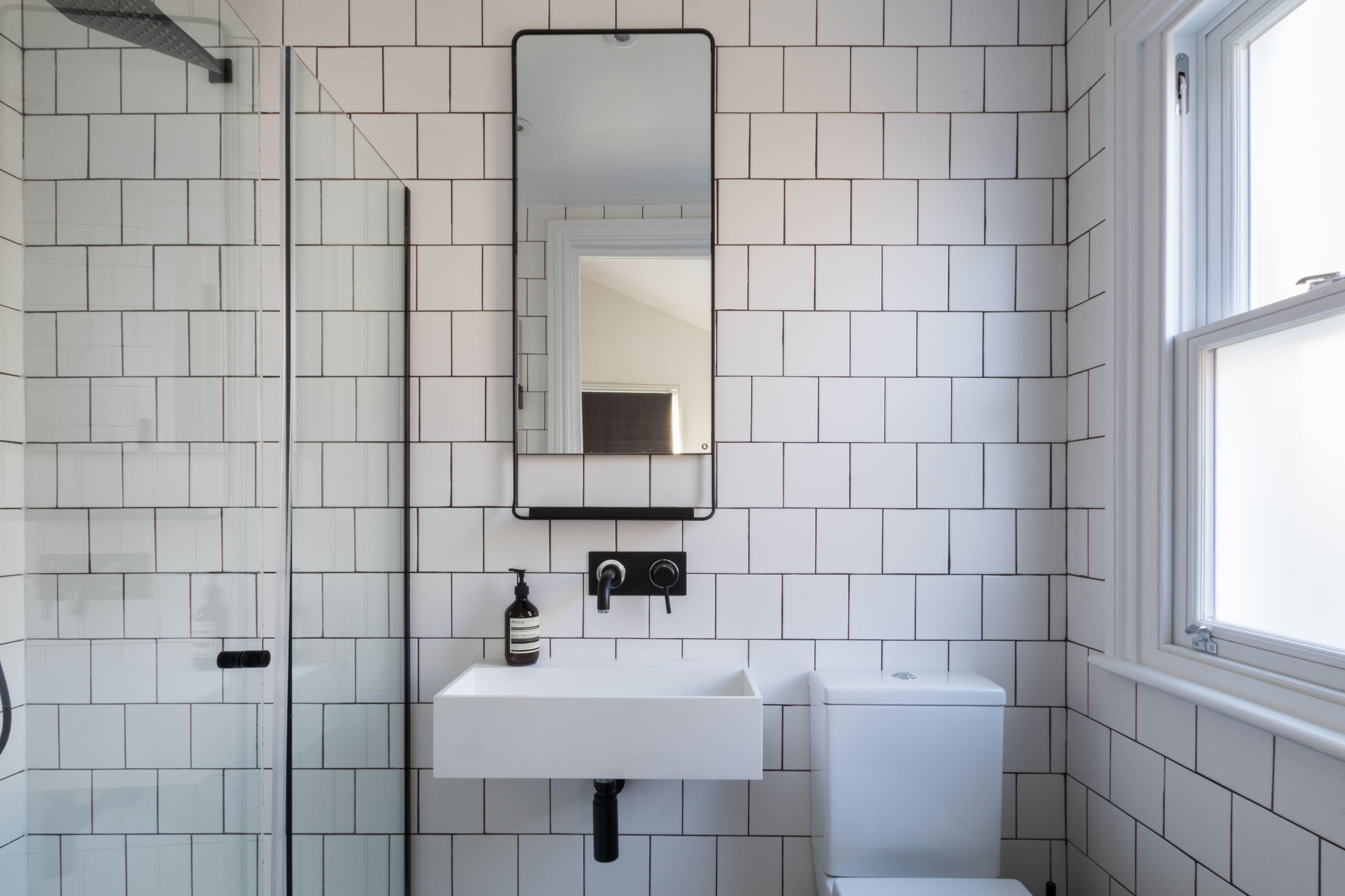Bathroom, black and white bathroom, industrial luxe, industrial ...