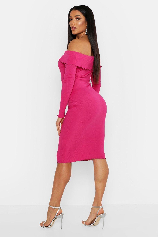 Boohoo petite off shoulder bodycon midi dress in pink
