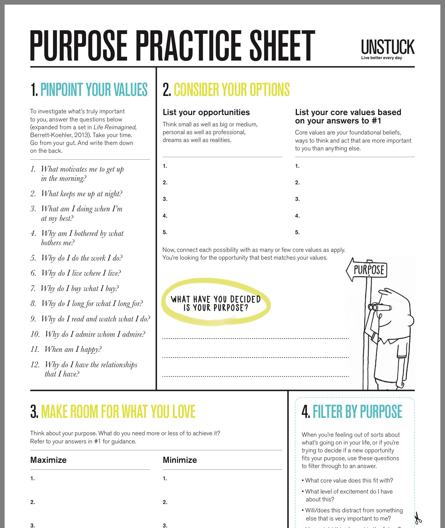 Purpose Practice Sheet Life Coaching Tools Coaching Tools Therapy Worksheets