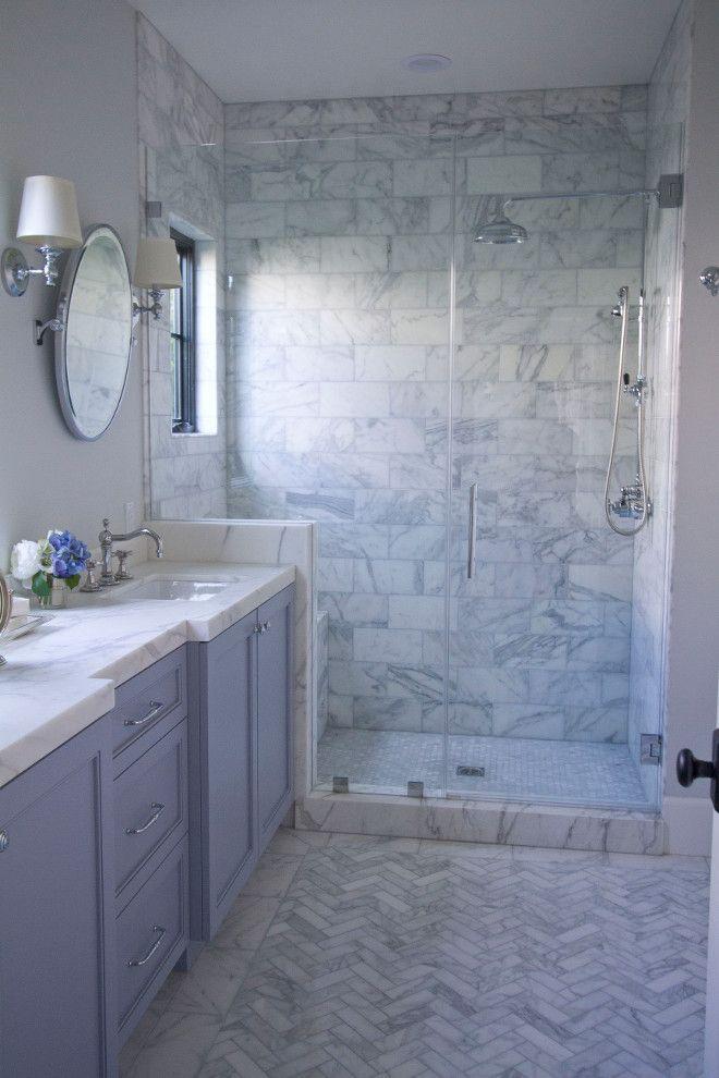 Wall Paint Color Is Benjamin Moore Oc 53 Horizon The Blue Gray Cabinet Paint Color Is Benjami Marble Bathroom Herringbone Tile Floors Herringbone Marble Floor