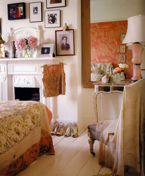 Wonderful room...love fireplaces in the bedroom! Fabulous old building, too, you can just tell. :)