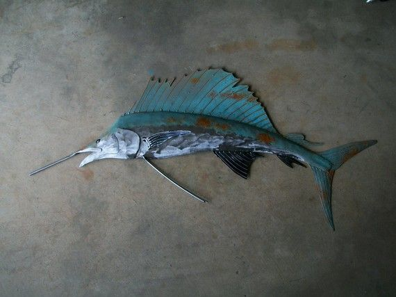 Fish Metal Wall Art sailfish metal wall art fish sculpture beach coastal tropical
