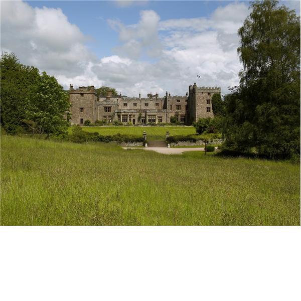 The west front of Muncaster Castle. Cumbria, England