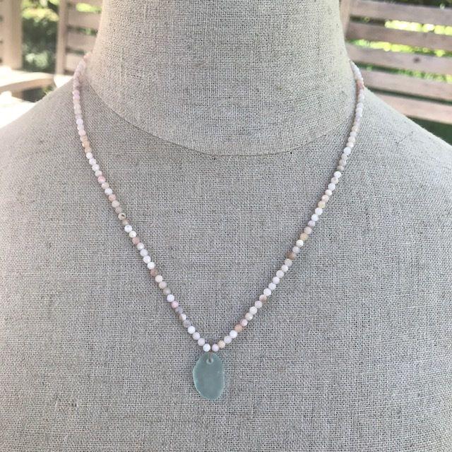 SUMMER Pink Opal Sea Glass NecklaceMermaidJackpot