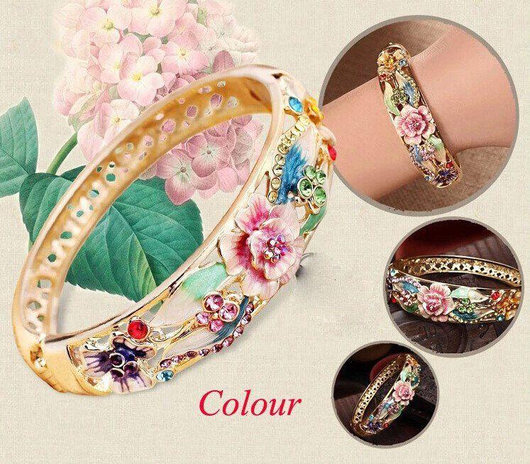 New Bohemia Style Women Beach Bangle High Quality Gold Plated Bracelet Bangle Crystal Inlay Cloisonn Brand Bangles pulseiras