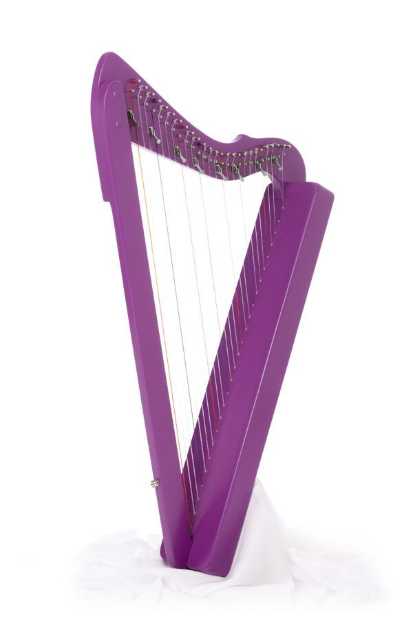 Purple Sharpsicle Harp (26 strings) with levers on C and F strings