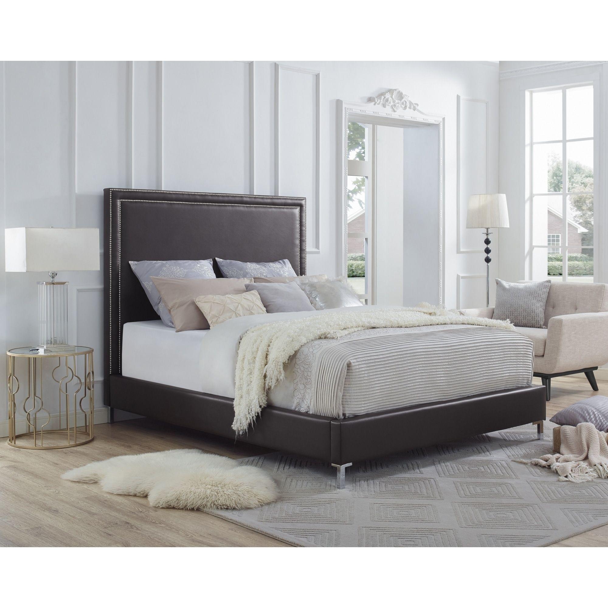 Hayworth PU Leather or Velvet Nailhead Trim Platform Bed