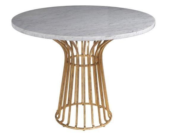 Baldwin Modern Antique Gold White Metal Stone Round Cocktail Table