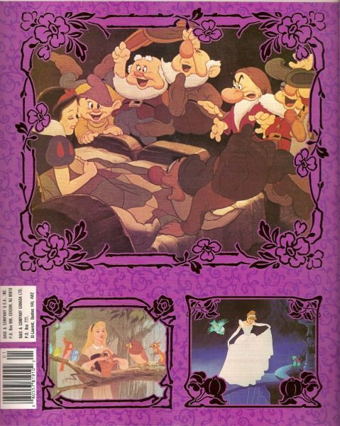 the princess collection disney panini storybook sticker album back cover
