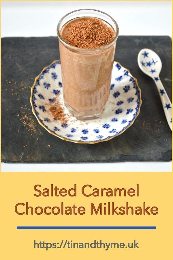 Salted Caramel Chocolate Milkshake - a healthy and delicious vegan plant milk drink made with dates and raw cacao powder.