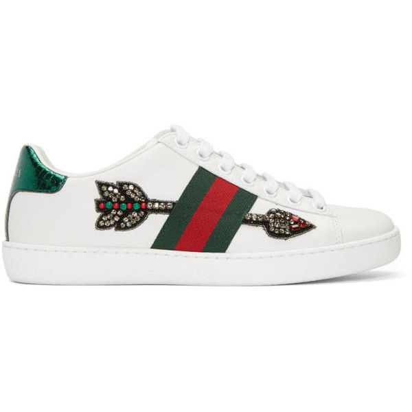 Gucci White Bleeding Arrow Ace Sneakers ($635) ❤ liked on Polyvore featuring shoes, sneakers, white, white low top sneakers, white sneakers, gucci trainers, white leather shoes and white trainers