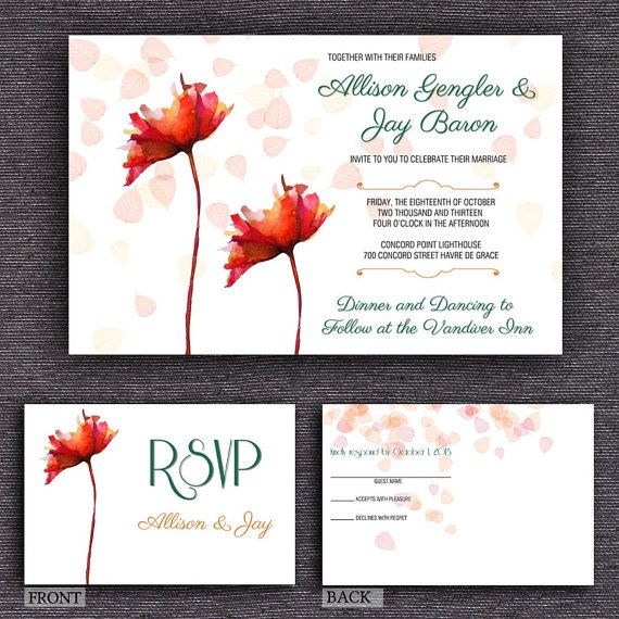 X Red Flower Wedding Invitation Template  Postcard Rsvp