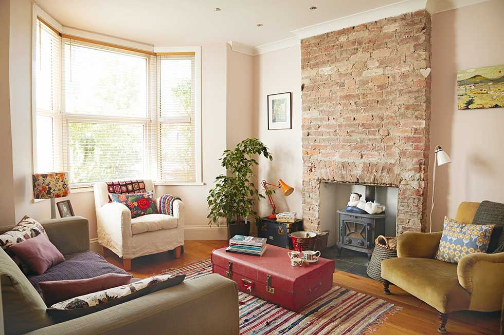 Victorian Pattern House Living Room Exposed Brick Fireplace