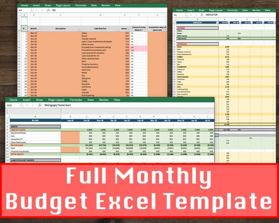 monthly budget spreadsheet  personal finance sheet  home