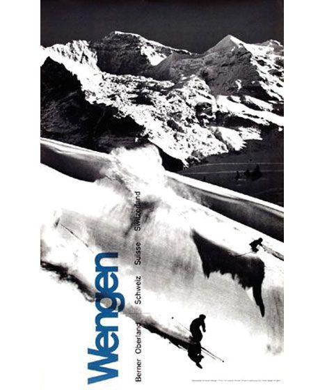 vintage ski poster. Wengen Switzerland  c1965 - Design by Martin Lauterburg + Fritz Lauener