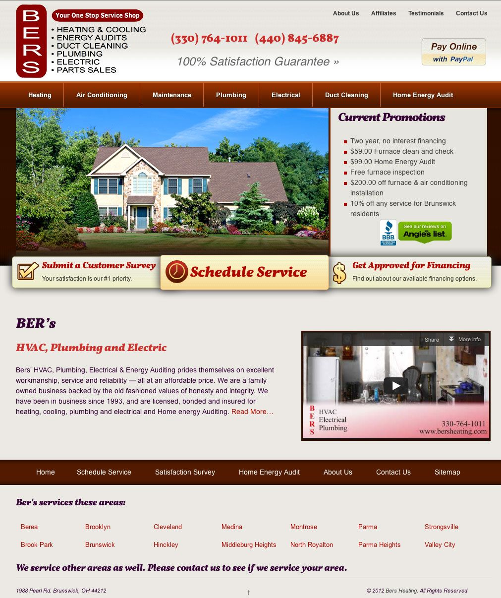 Bers Heating Cooling Air Conditioning Maintenance Portfolio Website Design
