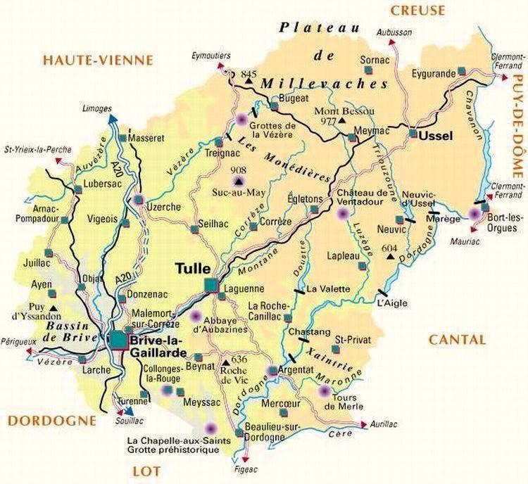 Carte De La Correze Politique Correze Carte Des Regions