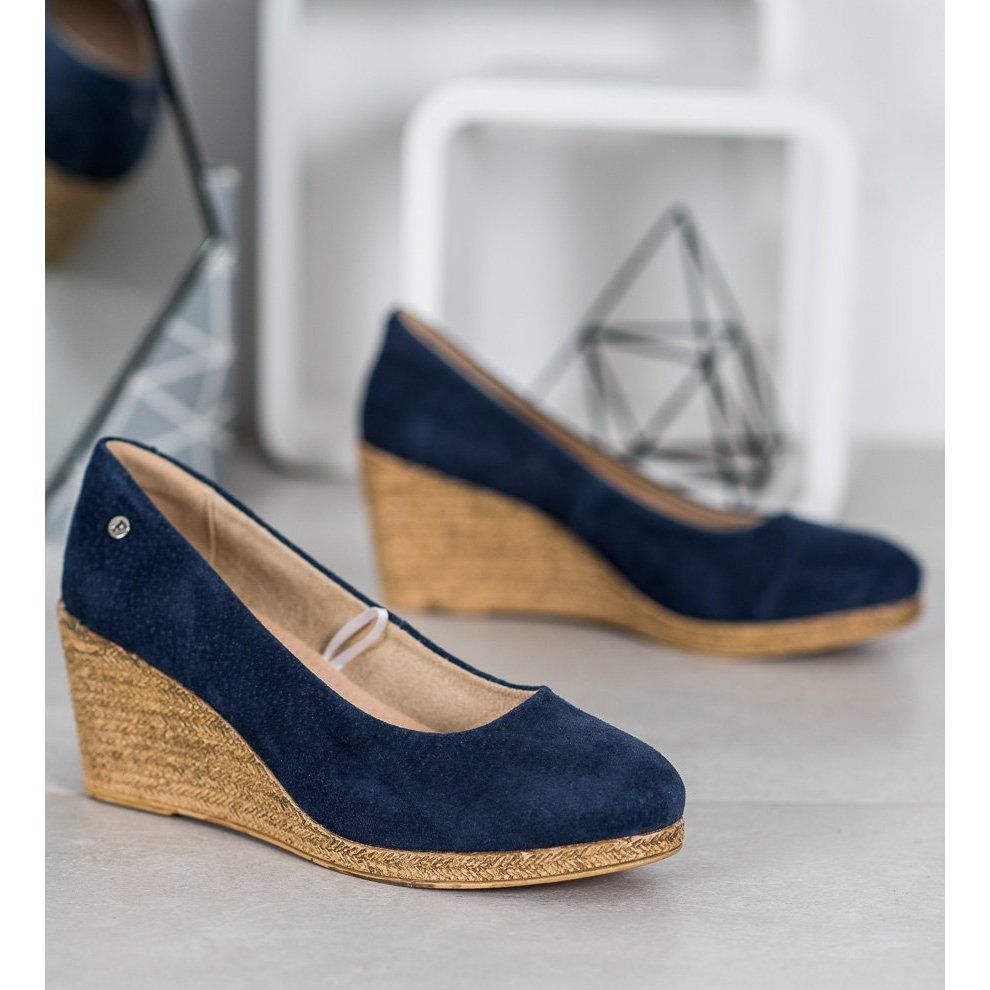 Filippo Skorzane Czolenka Na Koturnie Niebieskie Wedge Espadrille Shoes Espadrilles