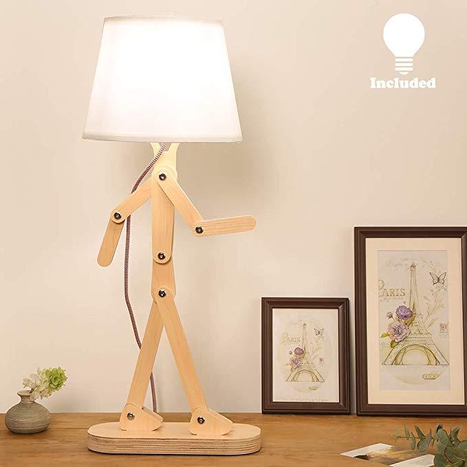 Hroome Novelty Modern Desk Lamp With Swing Arm Cool Wood Adjustable Kids Table Lamp Bedside Light For Readin Kids Desk Lamp Kids Table Lamp Living Room Office