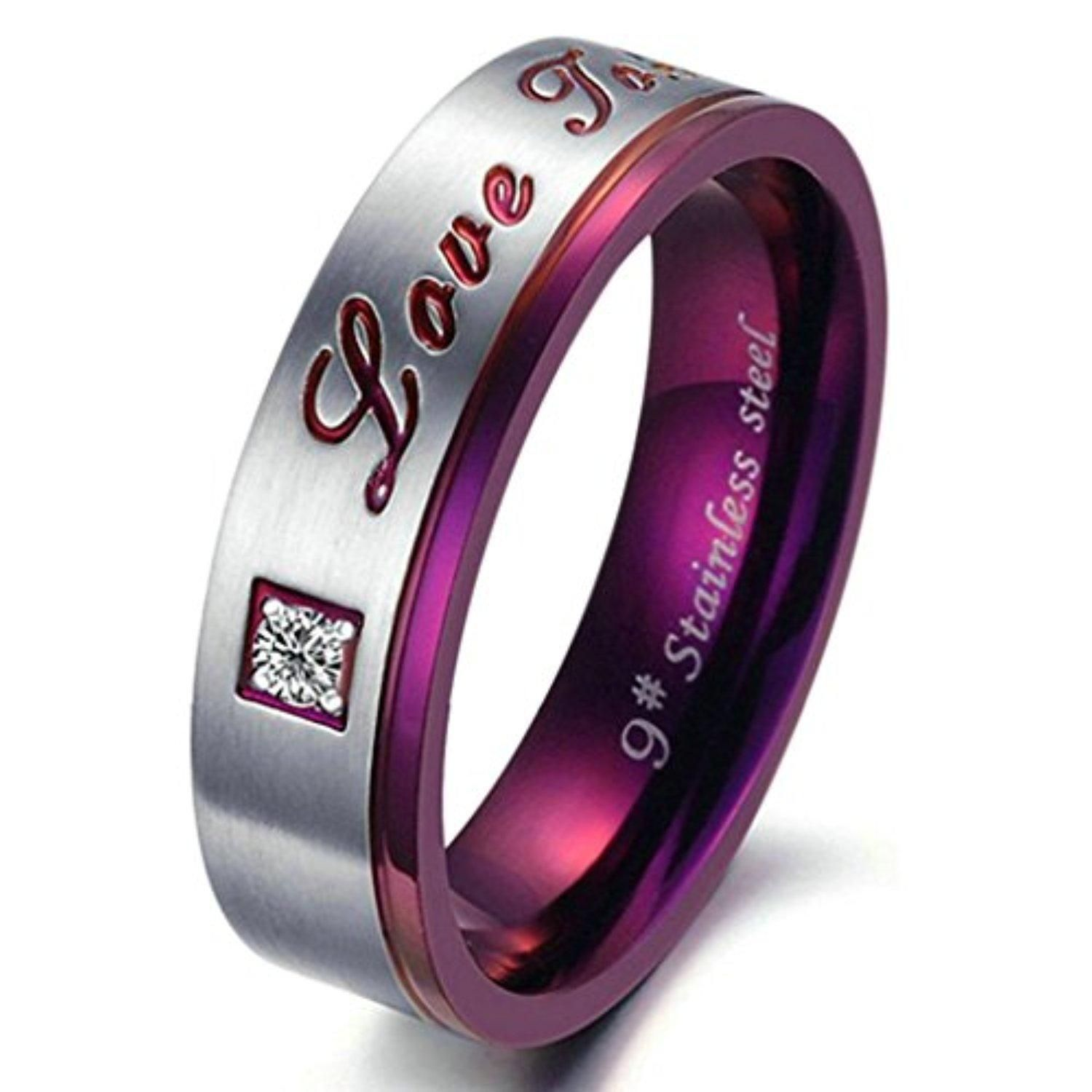 Aooaz Stainless Steel Ring For Women CZ Engraved Love