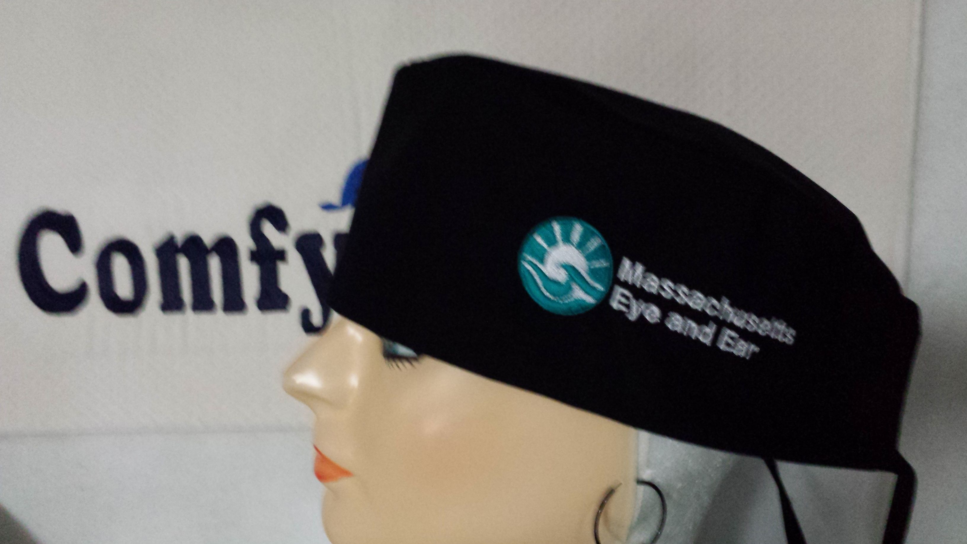 Personalised (embroidered) scrub cap. Elastic or tie-up. 18 colours