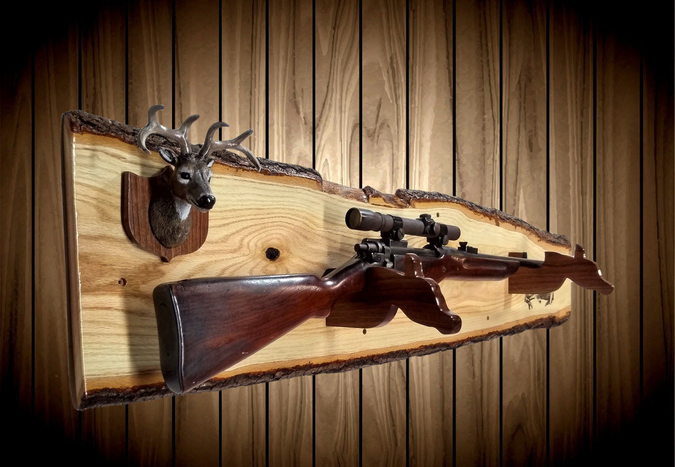 Rustic Live Edge Oak Gun Rack Mini Buck Mount Walnut Doe