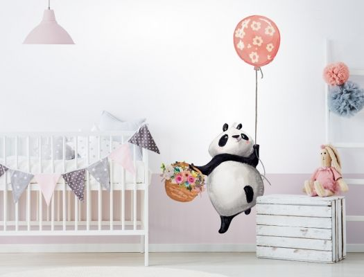 Wandtattoo Kinderzimmer Aquarell Pandabär mit Blumen und
