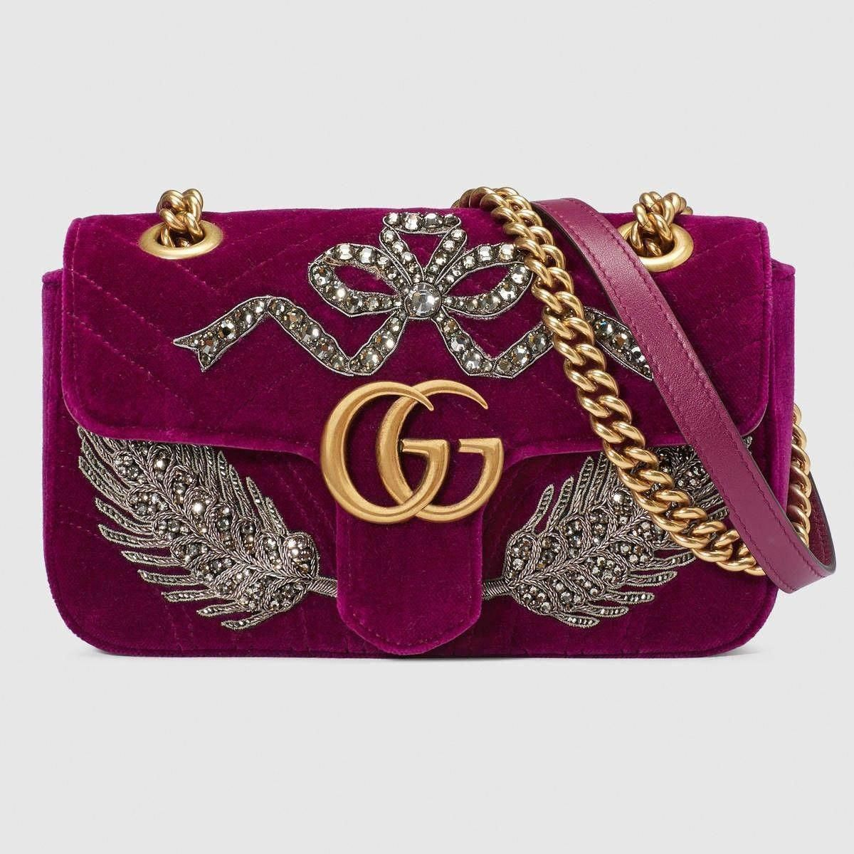 4320e34fd5f5 GUCCI GG Marmont embroidered velvet mini bag - bordeaux chevron velvet. #  gucci #bags #velvet #lining #shoulder bags #crystal #hand bags #silk .